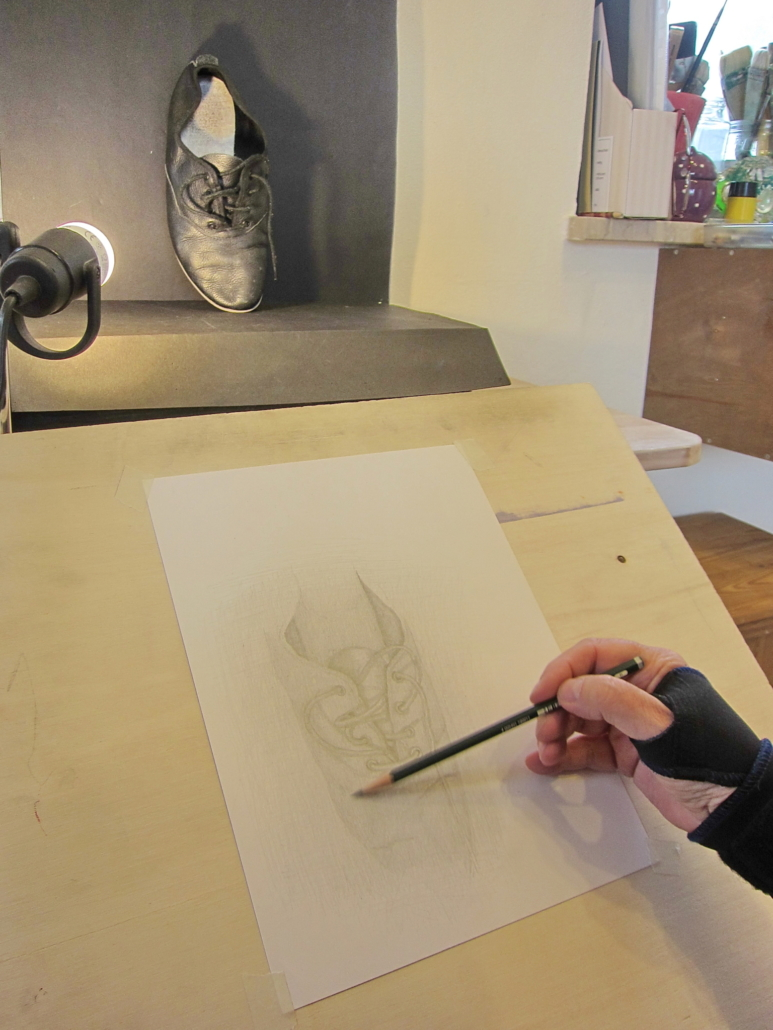 Bleistiftstudie optische perspektive und Ledertextur
