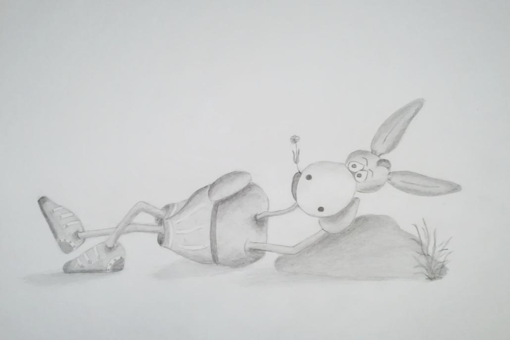 Bleistiftzeichnung Esel macht mal Pause