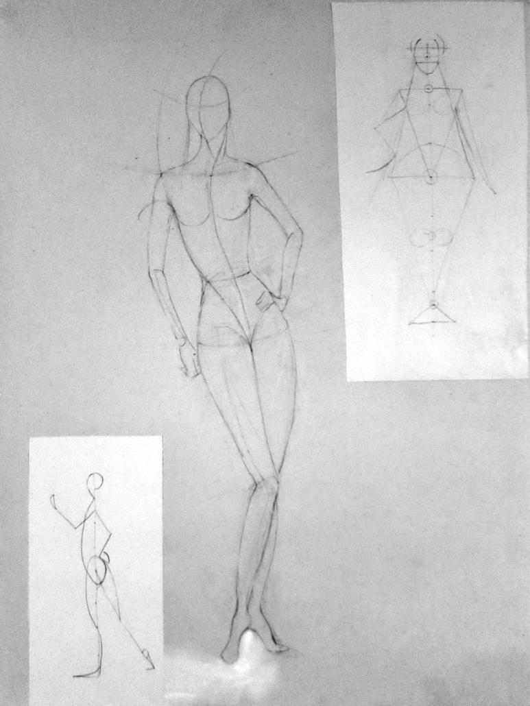 Konzeptioneller Grundaufbau einer Modezeichnung für Studiengang Modedesign