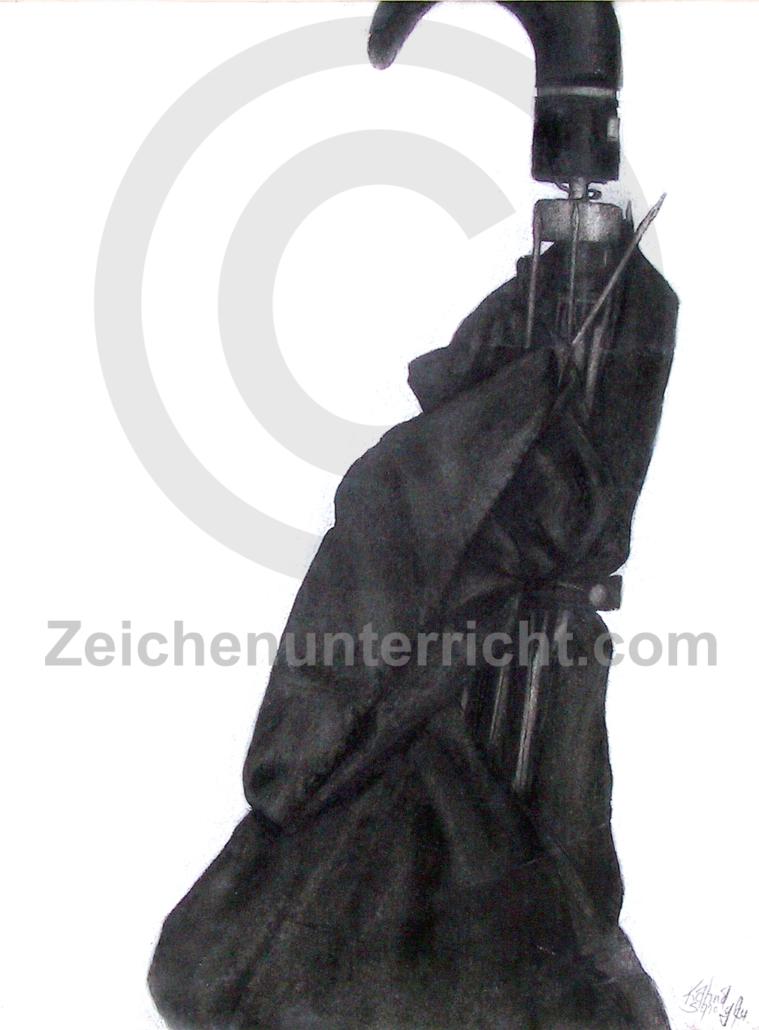 Regenschirm Studie - Kohlezeichnung
