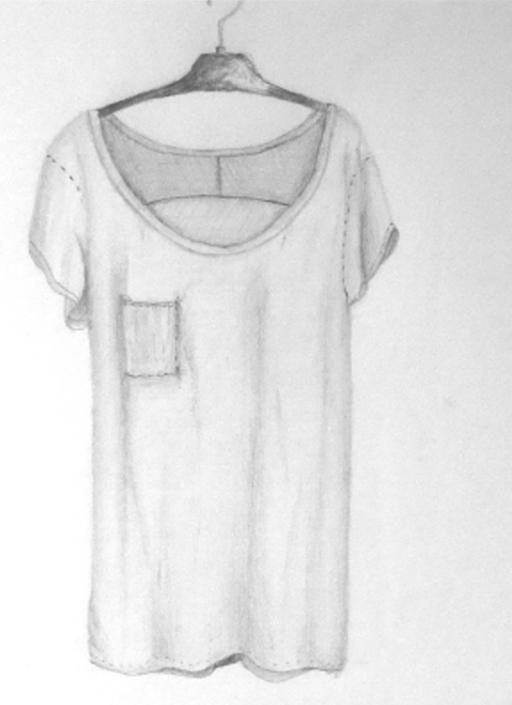 Studien Zeichnung Stofftextur T-Shirt