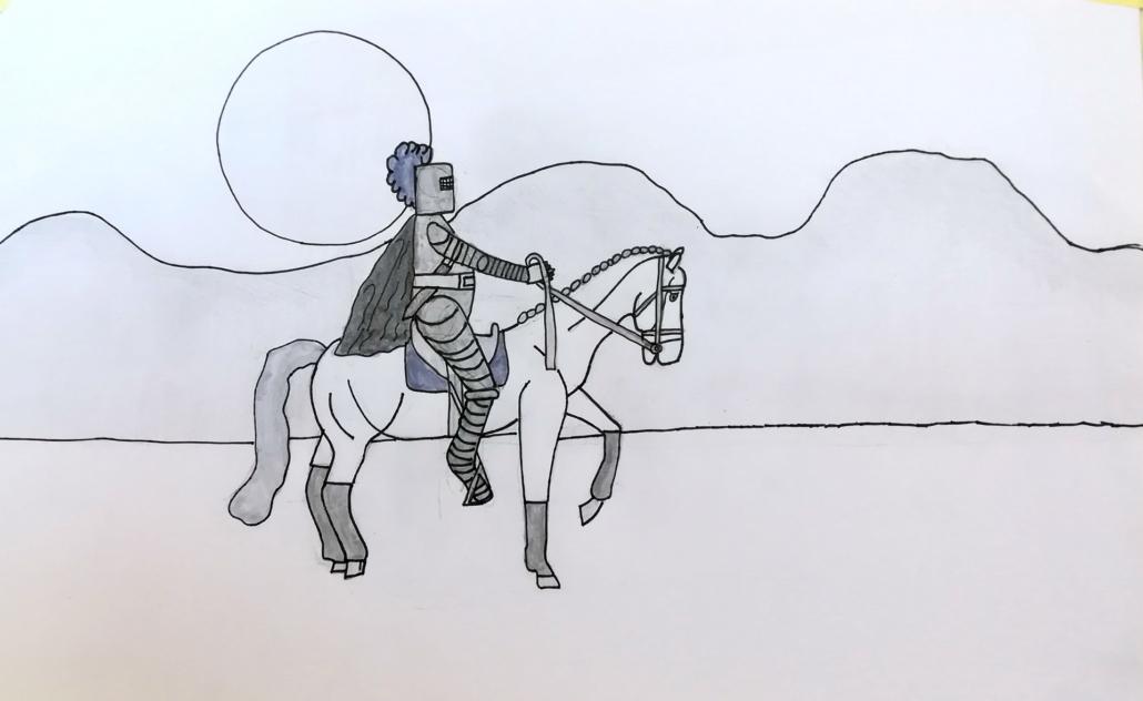 Zeichenstudie Ritter Kunibert auf dem Weg zur holden Maid
