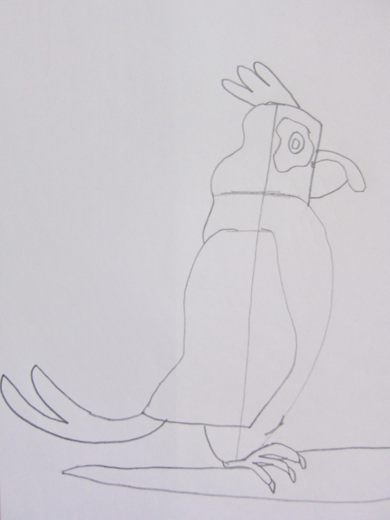 Zeichenstudie das misstrauische Huhn