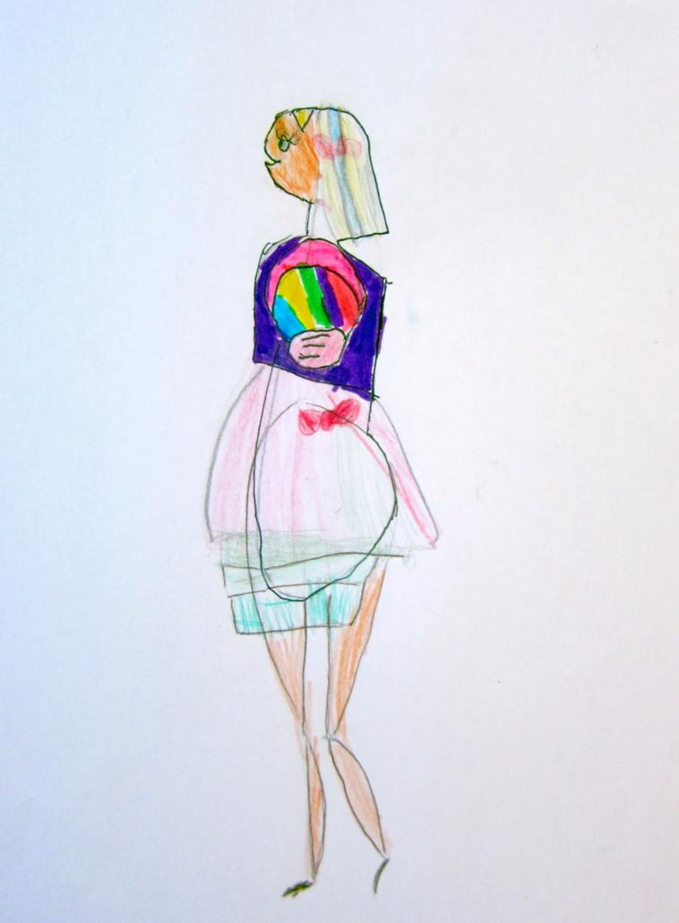 Zeichenstudie modebewusste Dame