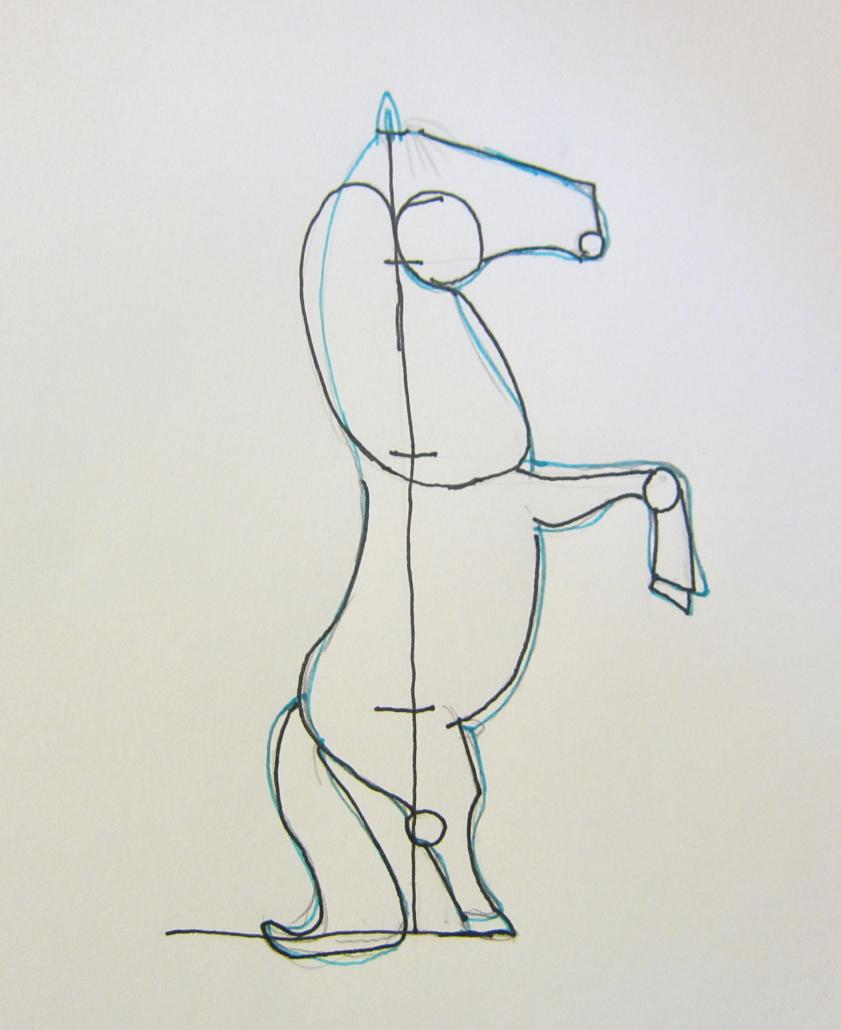 Zeichenstudie wieherndes Pferd