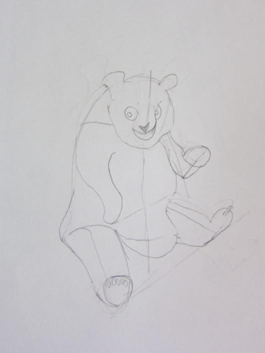 Zeichenstudie winkender Bär
